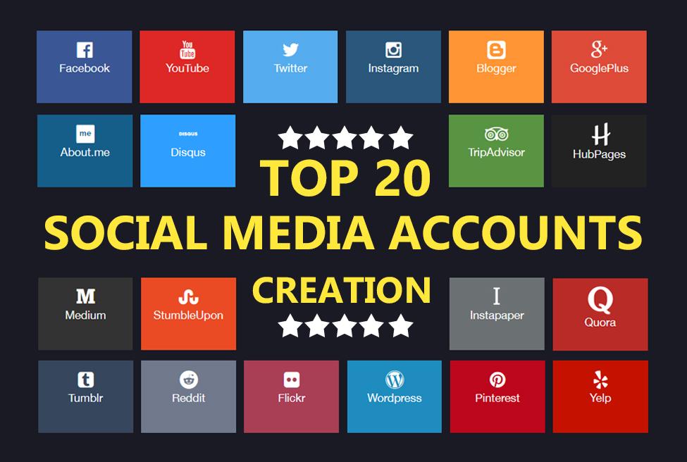 top 20 social Media Profiles created