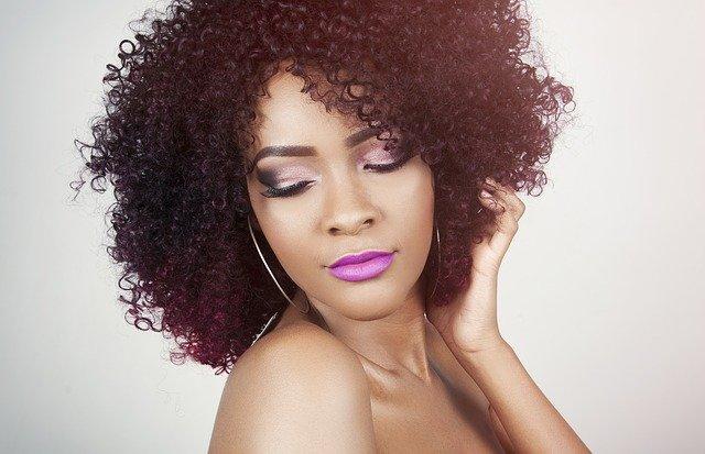 great purple lipstick on a model