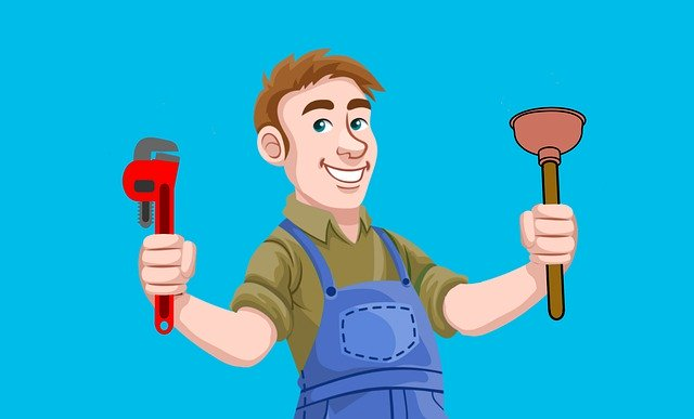 handyman cartoon with wrench