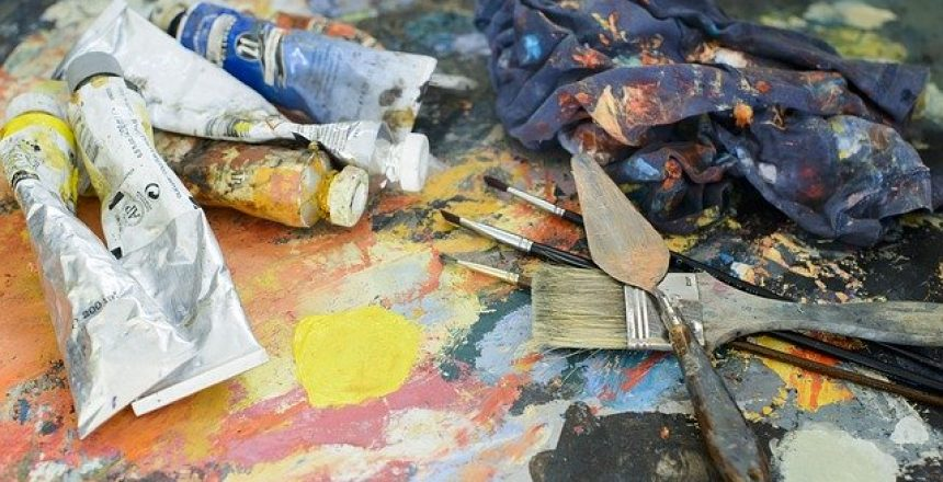 paints and tools for crafts